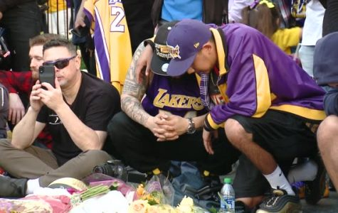 Fans mourn at Crowds Gather Outside Staples Center For Kobe Bryant Memorial at Staples Center on January 27, 2020 in Los Angeles, California.